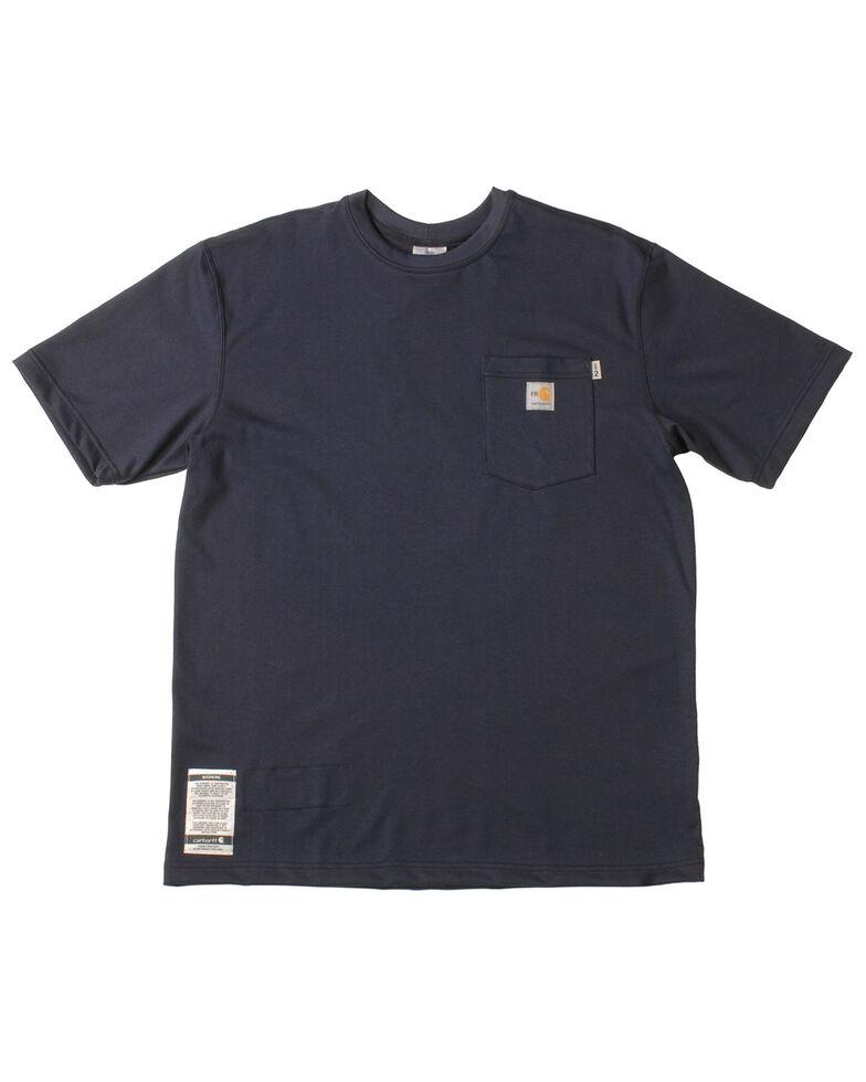 Carhartt Men's Navy Blue Pocket Fire Resistant Short Sleeve Work T-Shirt, Navy, hi-res