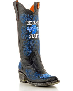 Gameday Indiana State University Cowgirl Boots - Pointed Toe, Black, hi-res