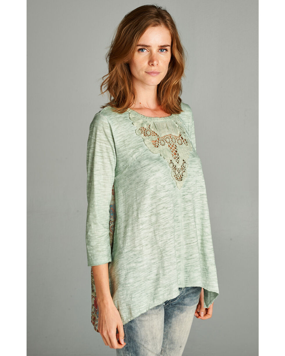 Hyku Women's Green Patch Detailed Washed Top, Green, hi-res