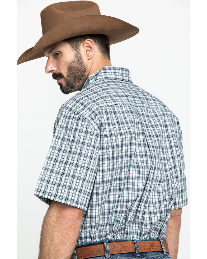 Cinch Men's White Small Plaid Short Sleeve Western Shirt , White, hi-res