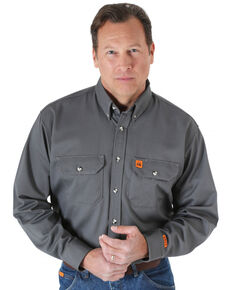 Wrangler Riggs Men's Grey Flame Resistant Long Sleeve Work Shirt, Grey, hi-res