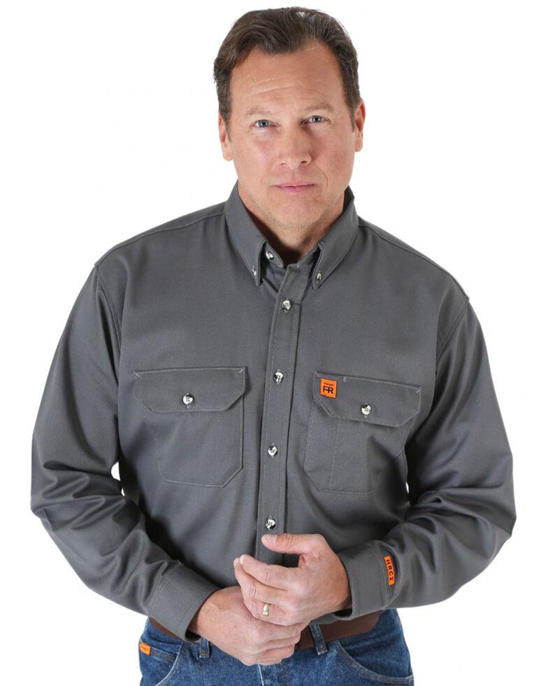 Wrangler Riggs Men's Grey Flame Resistant Long Sleeve Work Shirt, Grey, hi-res