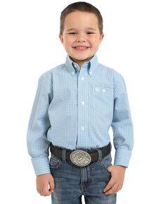 Wrangler Boys' Geo Print Button Long Sleeve Western Shirt , Blue, hi-res
