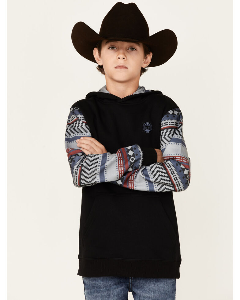 HOOEY Boys' Black Aztec Hooded Sweatshirt , Black, hi-res