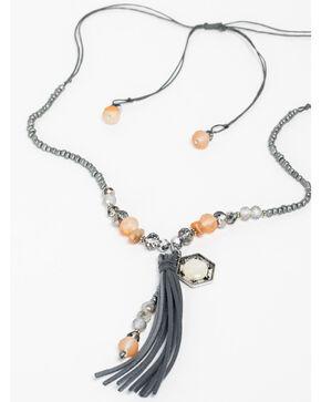 Shyanne Women's Grey Beaded Tassel Necklace, Silver, hi-res