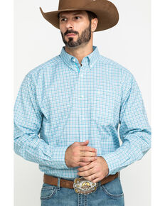 Ariat Men's Lee Stretch Plaid Short Sleeve Western Shirt - Tall , Blue, hi-res