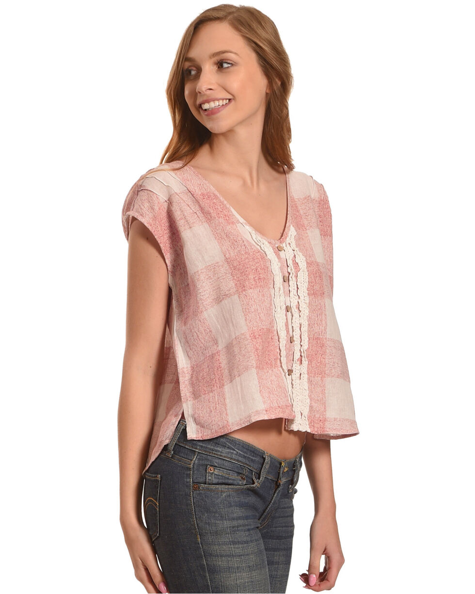 Shyanne Women's Plaid Button Down Top, Blush, hi-res