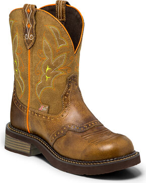 "Justin Women's 8"" Pull-On Western Boots, Tan, hi-res"