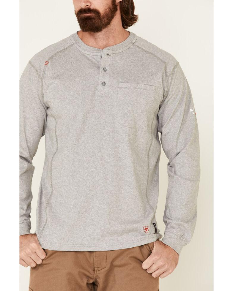 Ariat Men's Grey FR Air Henley Long Sleeve Work Shirt , Heather Grey, hi-res