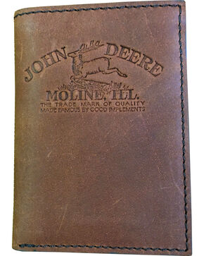 John Deere Men's Vintage Distressed Leather Tri-Fold Wallet , Brown, hi-res