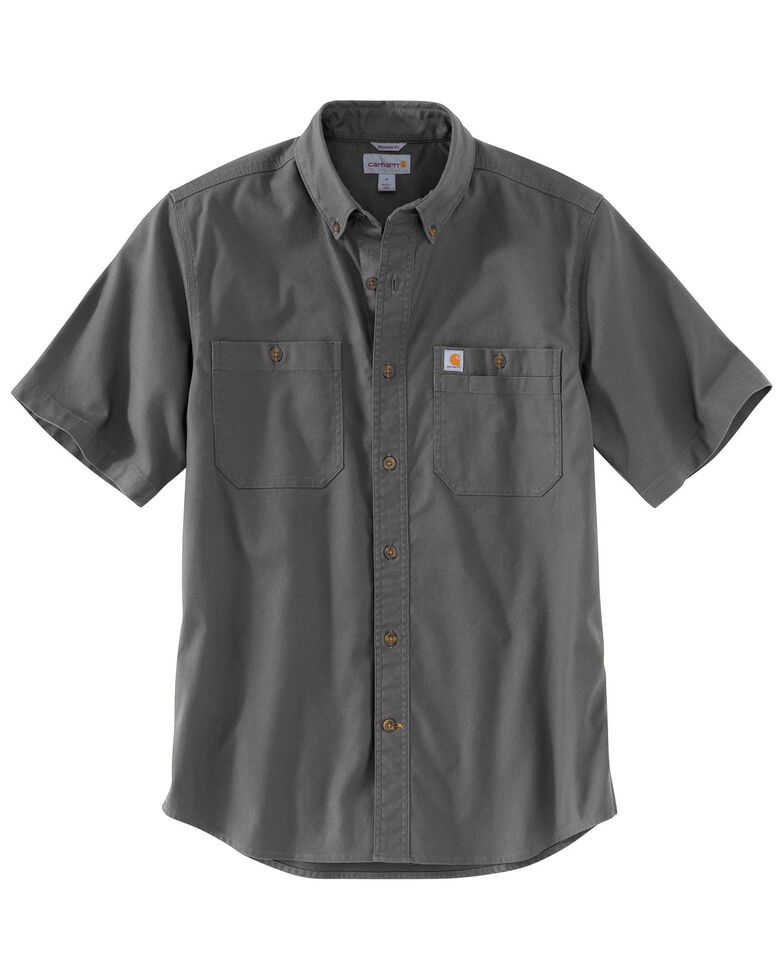 Carhartt Men's Rugged Flex Rigby Short Sleeve Work Shirt - Big , Charcoal, hi-res