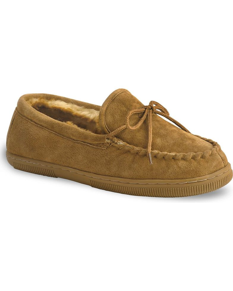 Lamo Footwear Men's Leather Moccasin Slippers - Moc Toe, Chestnut, hi-res