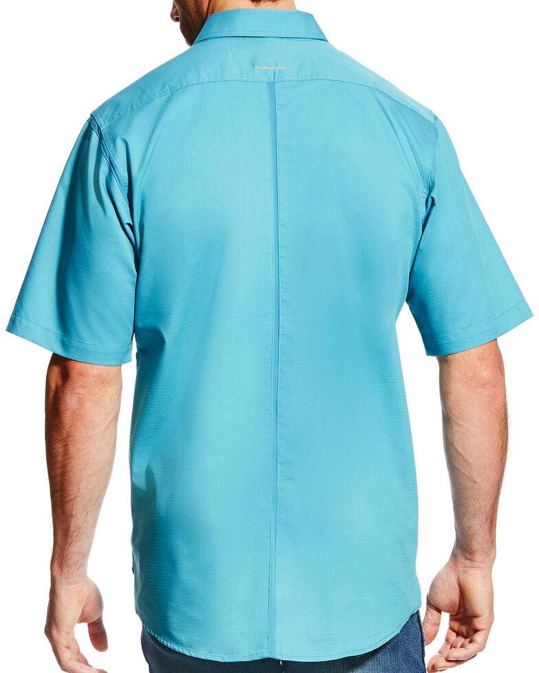 Ariat Men's Rebar Plaid Short Sleeve Work Shirt, Teal, hi-res