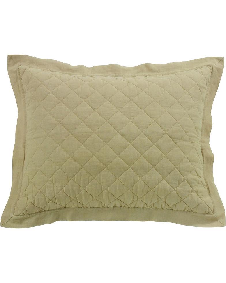 HiEnd Accents Diamond Pattern Quilted Khaki Linen Standard Sham, Khaki, hi-res