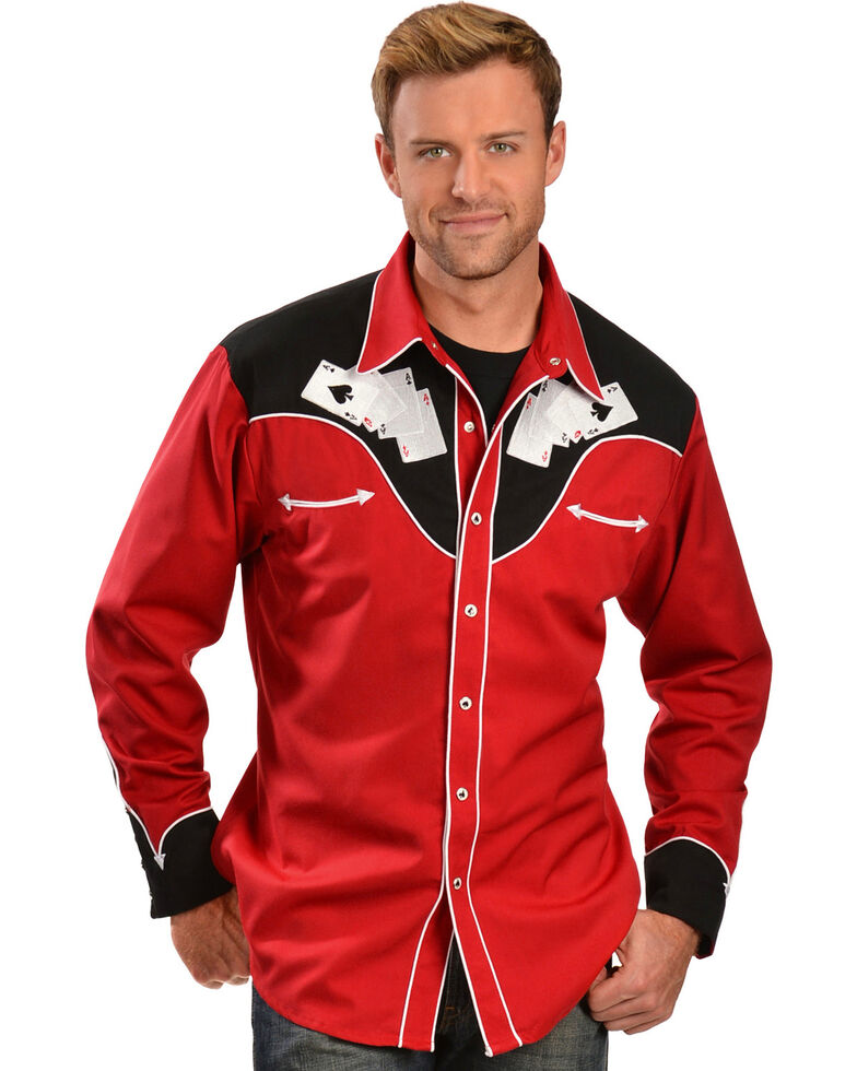 Scully Men's Poker Embroidered Retro Western Shirt, Red, hi-res