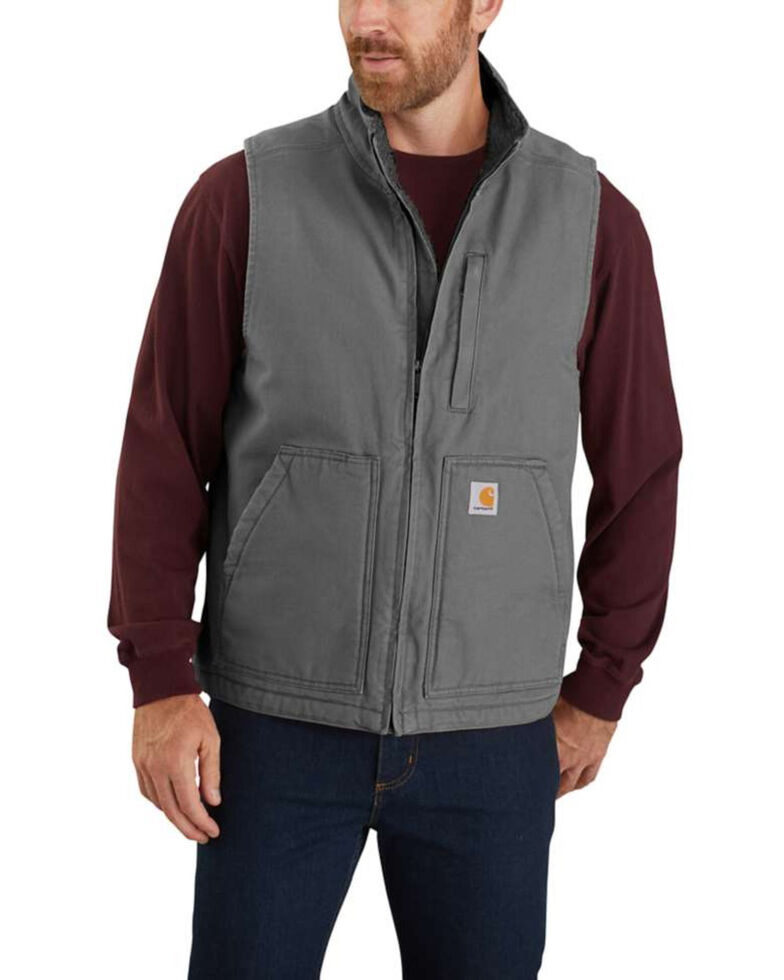 Carhartt Men's Gravel Washed Duck Sherpa Lined Mock Neck Work Vest - Big , Dark Grey, hi-res