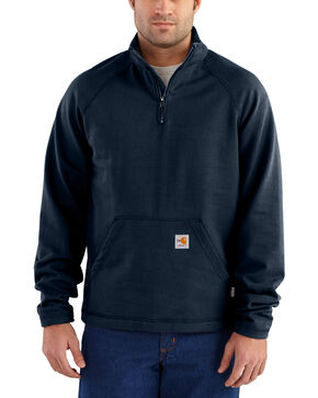 Carhartt Men's Flame Resistant Force Quarter-Zip Fleece Pullover, Navy, hi-res