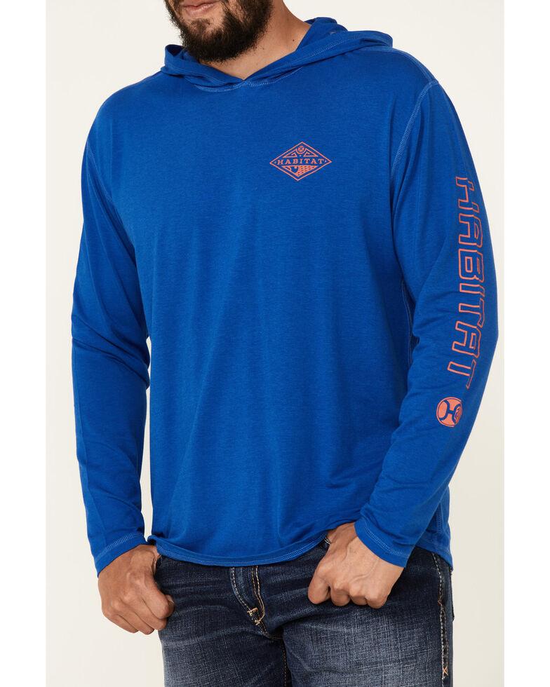 HOOey Men's Blue Captain Bamboo Logo Long Sleeve Hooded T-Shirt , Blue, hi-res