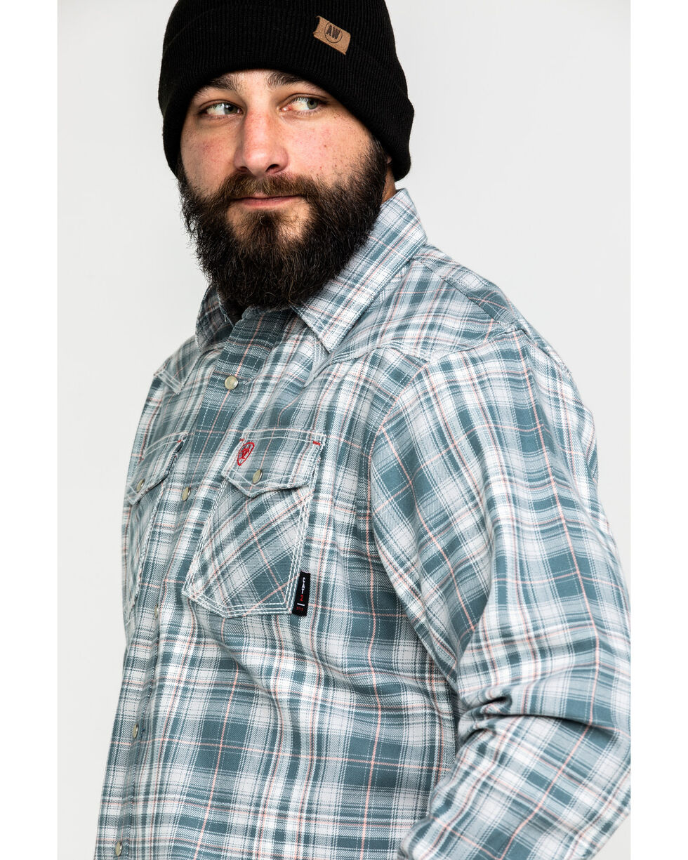 Ariat Men's FR Noble Retro Plaid Long Sleeve Work Shirt , Grey, hi-res