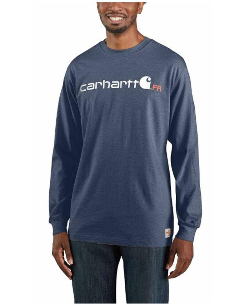 Carhartt Men's Dark Blue FR Force Midweight Logo Long Sleeve Work T-Shirt , Dark Blue, hi-res