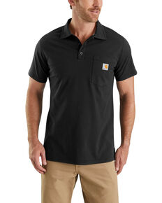 Carhartt Men's Black Force Cotton Pocket Polo Work Shirt , Black, hi-res