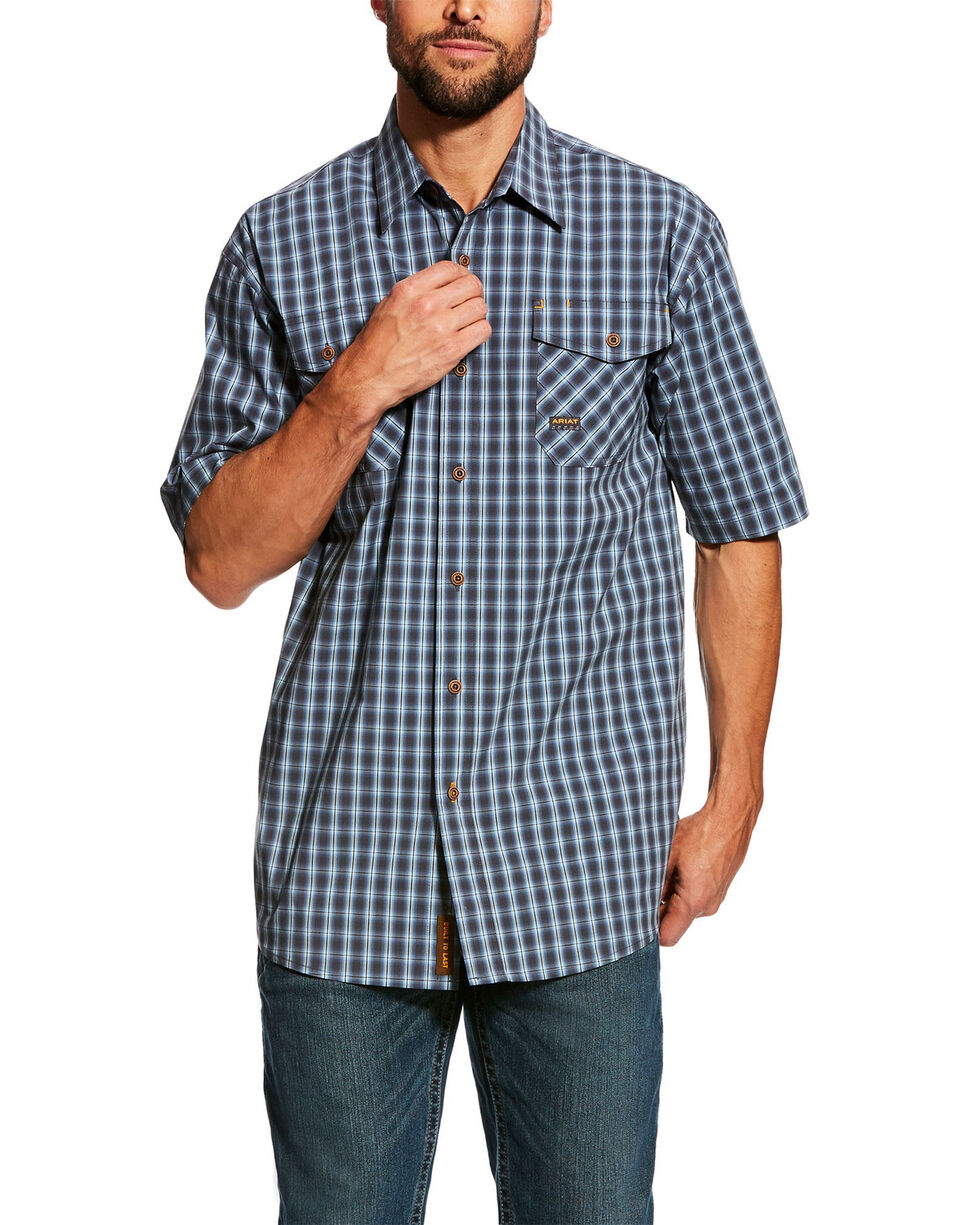 Ariat Men's Load Plaid Rebar Made Tough Short Sleeve Work Shirt , Multi, hi-res
