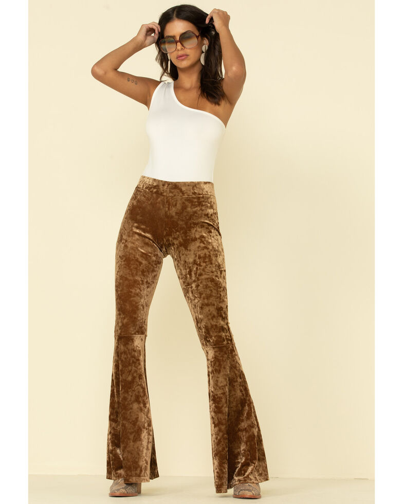 Rock & Roll Denim Women's Copper Velvet Bell Bottom Pants, Rust Copper, hi-res
