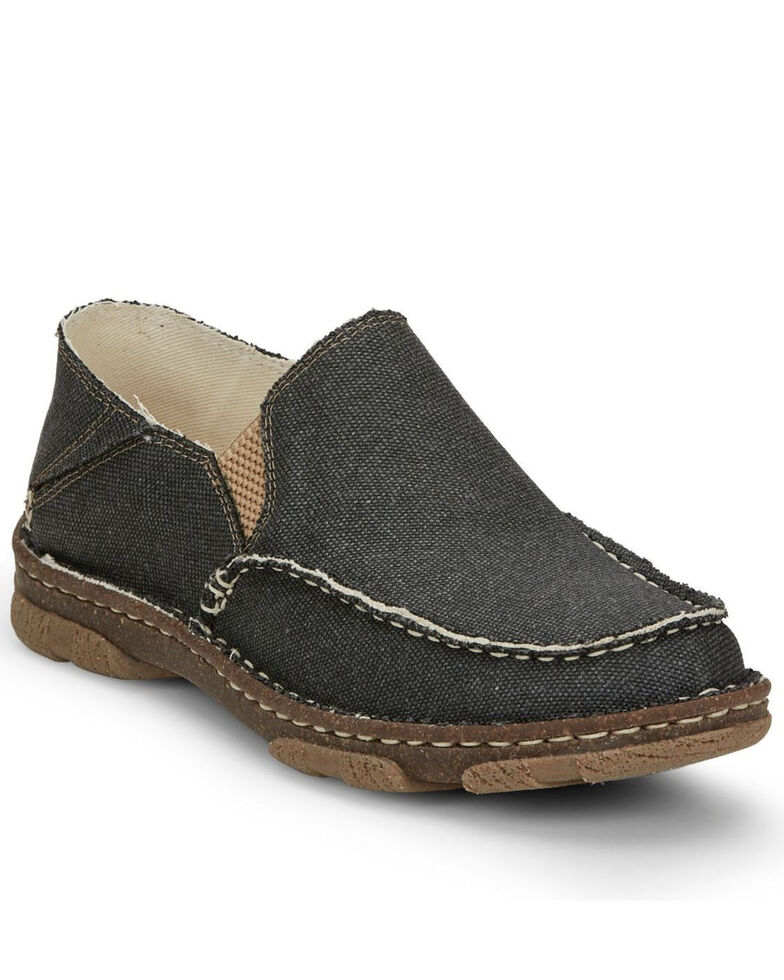 Tony Lama Men's Gator Charcoal Slip-On Shoes - Moc Toe, Grey, hi-res