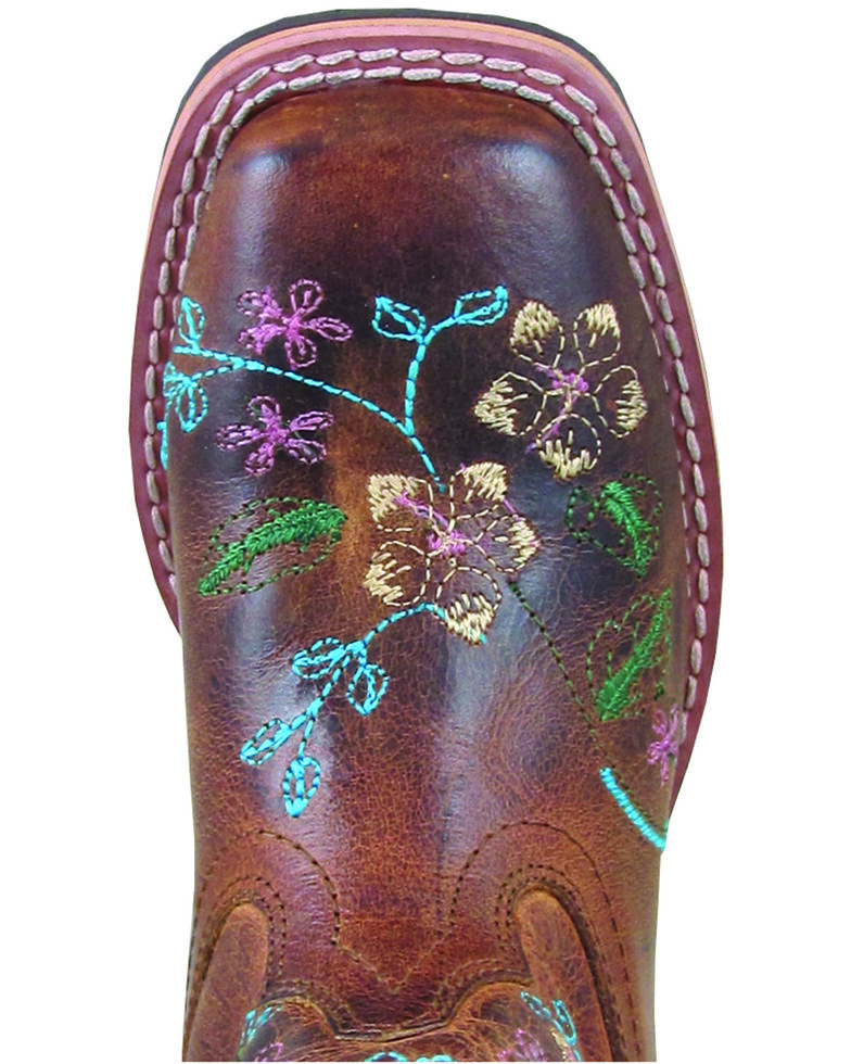 Smoky Mountain Girls' Floralie Western Boots - Square Toe, Brown, hi-res