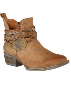 Circle G Women's Harness & Studs Booties - Round Toe, Brown, hi-res