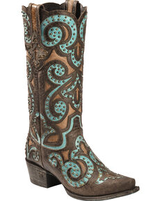 Lane Women's Paulina Western Fashion Boots, Brown/turq, hi-res