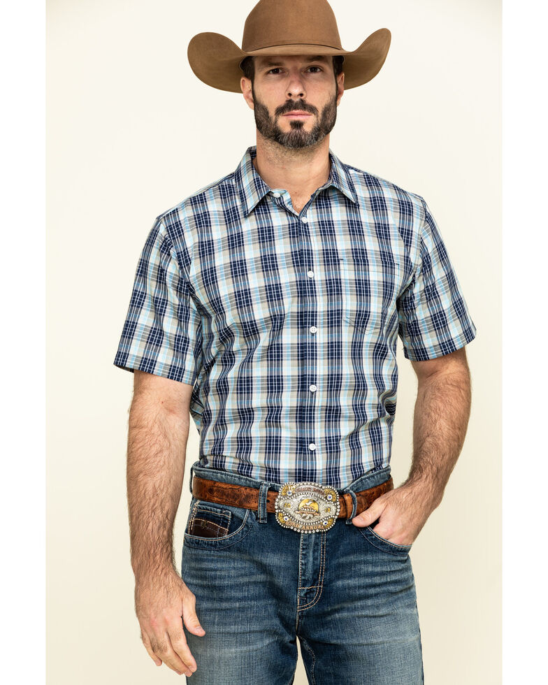 Gibson Men's Honky Tonk Plaid Short Sleeve Western Shirt , Green, hi-res