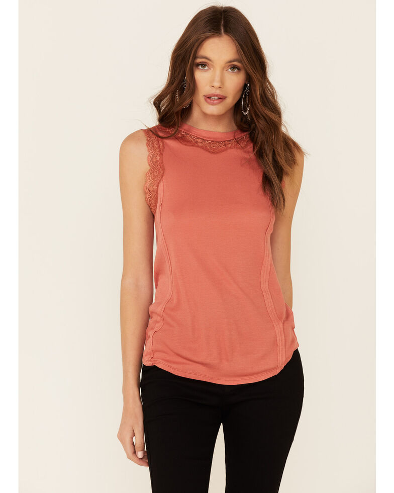 Rock & Roll Denim Women's Coral High Neck Lace Inset Tank Top , Coral, hi-res