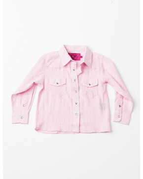 Cowboy Hardware Toddler Girls' Lurex Print Woven Shirt , Pink, hi-res