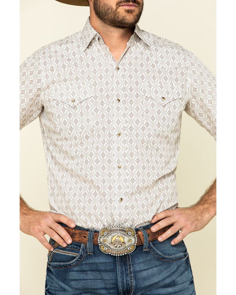 Ely Walker Men's Multi Aztec Geo Print Short Sleeve Snap Western Shirt , Beige/khaki, hi-res
