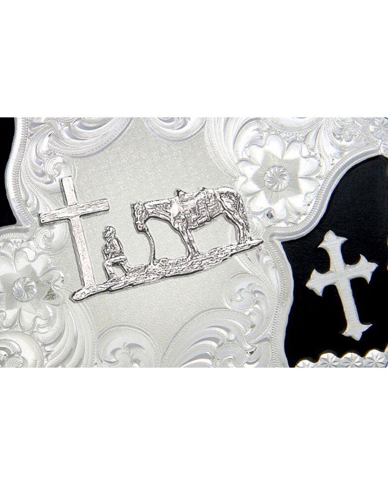 Montana Silversmiths Cross and Christian Cowboy Belt Buckle, Silver, hi-res