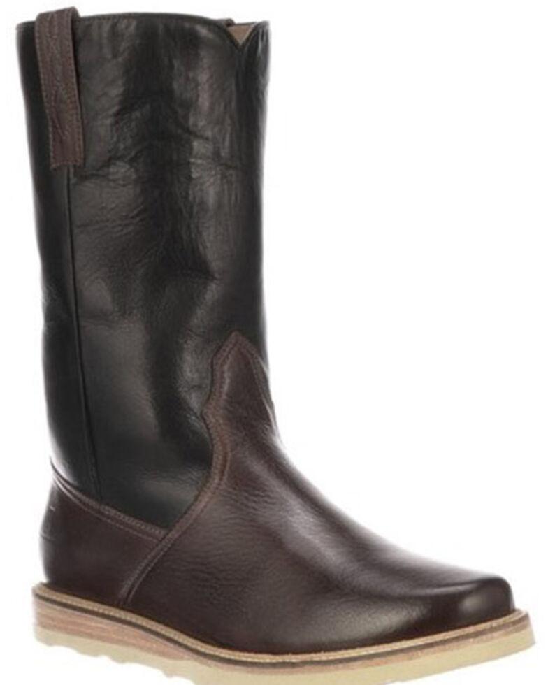 Lucchese Men's Bison Range Western Boots - Round Toe, Black/brown, hi-res