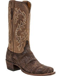 Lucchese Men's Burke Alligator Exotic Boots, Chocolate, hi-res