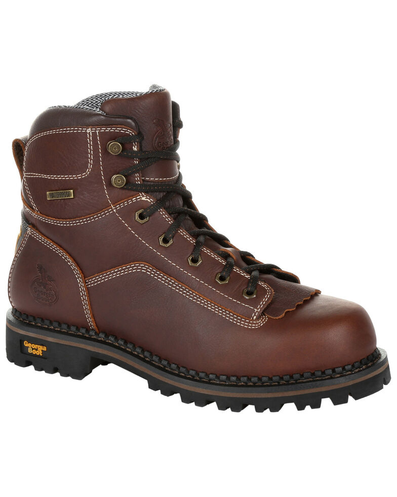 Georgia Boot Men's Amp LT Waterproof Logger Boots - Soft Toe, Brown, hi-res