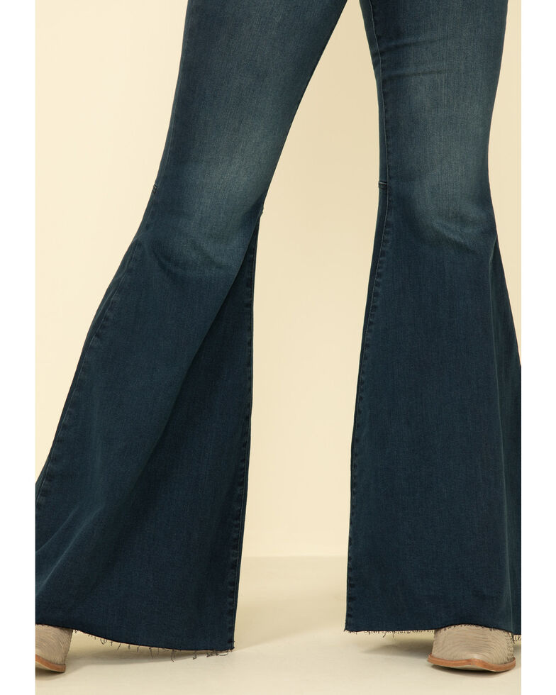 Free People Women's Dark Wash Just Float On Flare Jeans , Blue, hi-res