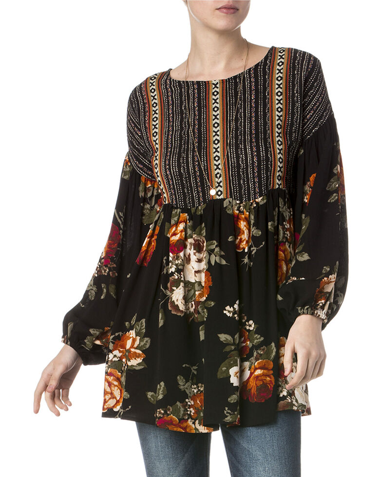 Miss Me Women's Sweet Floral Peasant Tunic , Multi, hi-res