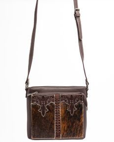 Trinity Ranch Women's Hair-On With Wallet Pocket Crossbody Bag, Coffee, hi-res