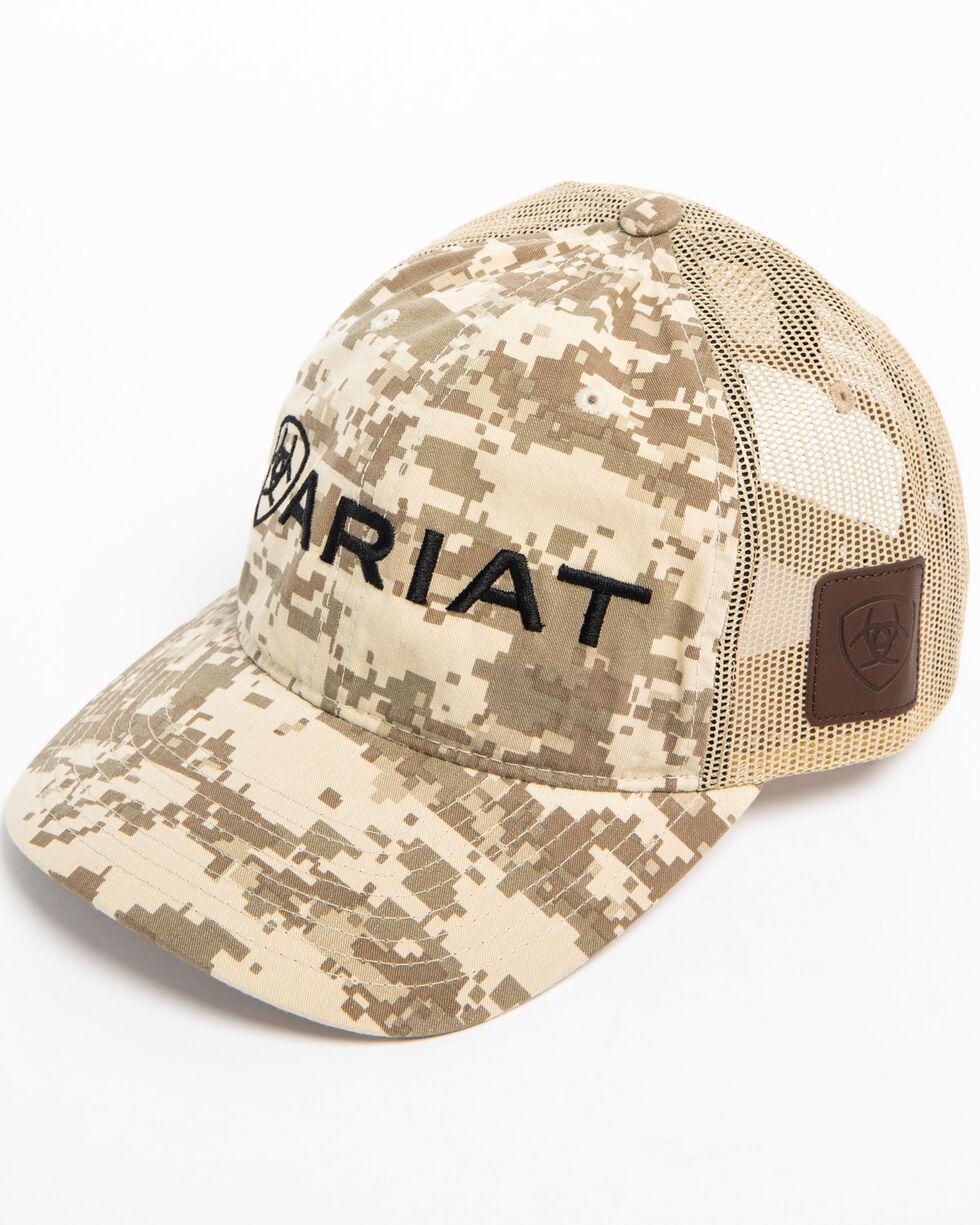 Ariat Men's Embroidered Logo Camo Trucker Cap, Camouflage, hi-res