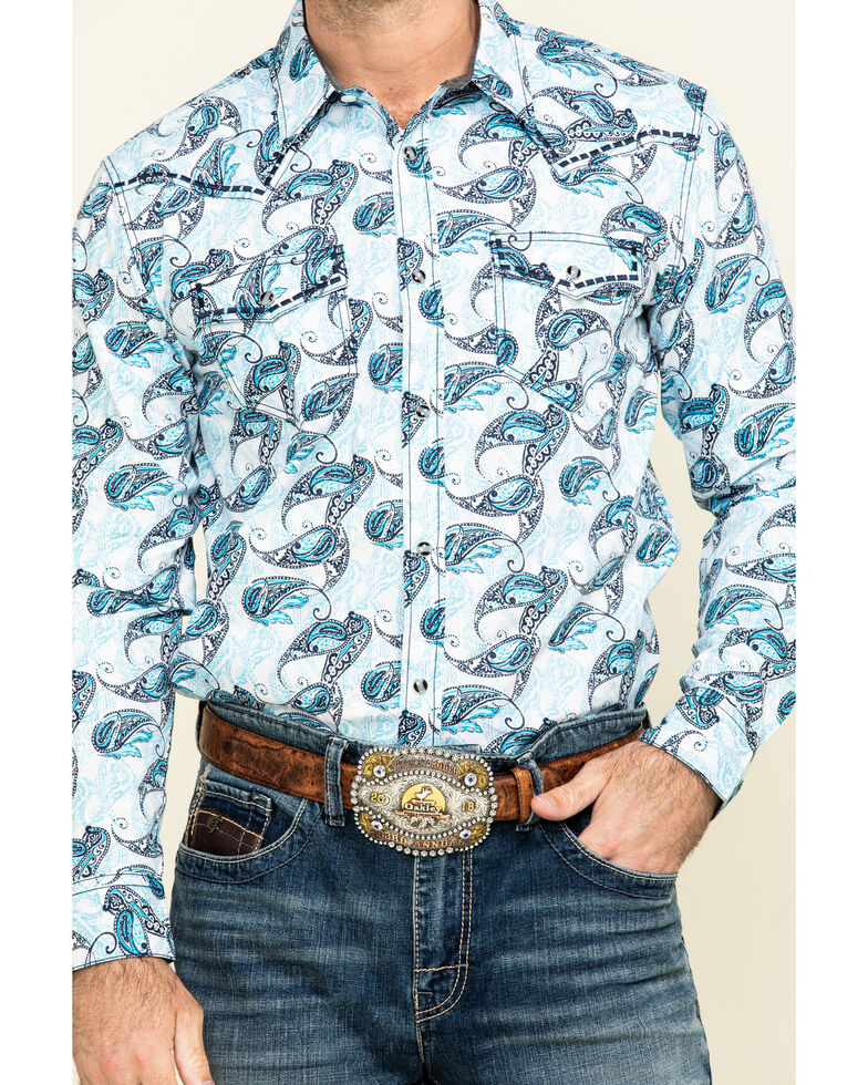 Cody James Men's Lovelace Large Paisley Print Long Sleeve Western Shirt - Tall , White, hi-res