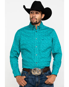 Wrangler 20X Men's Competition Teal Paisley Print Long Sleeve Western Shirt , Teal, hi-res