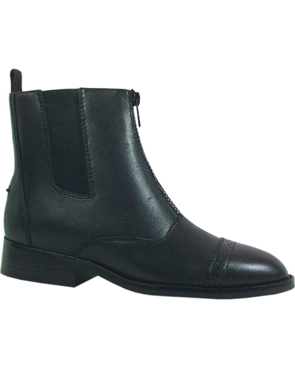 Smoky Mountain Women's Zipper Leather Paddock Boots, Black, hi-res