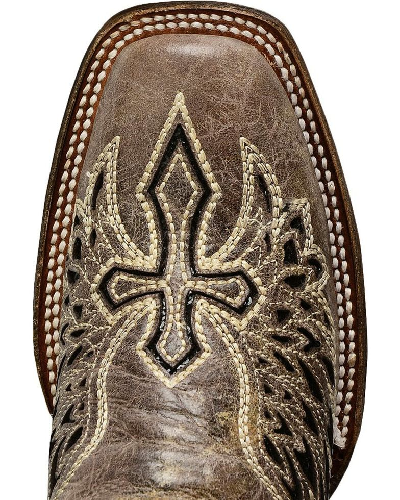 Corral Women's Cross and Wing Sequin Inlay Square Toe Western Boots, Black, hi-res