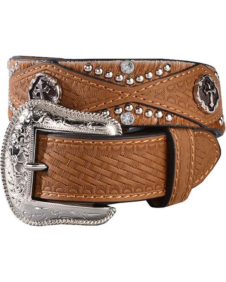 Nocona Boys' Woven Cross Belt, Brown, hi-res