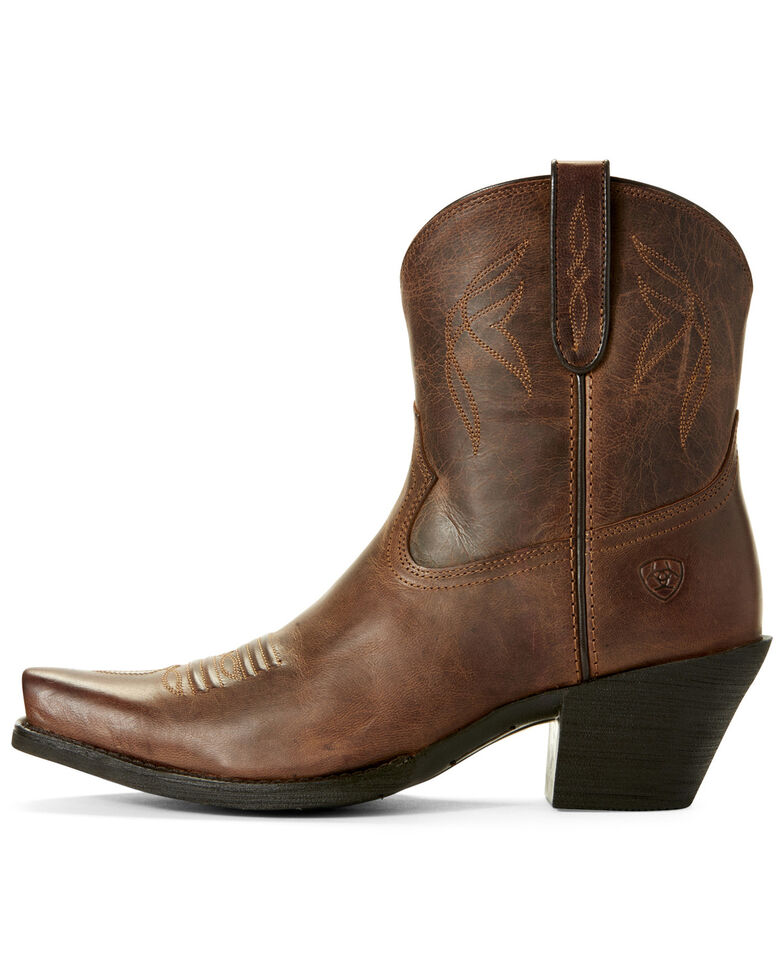 Ariat Women's Lovely Sassy Western Booties - Snip Toe, Brown, hi-res