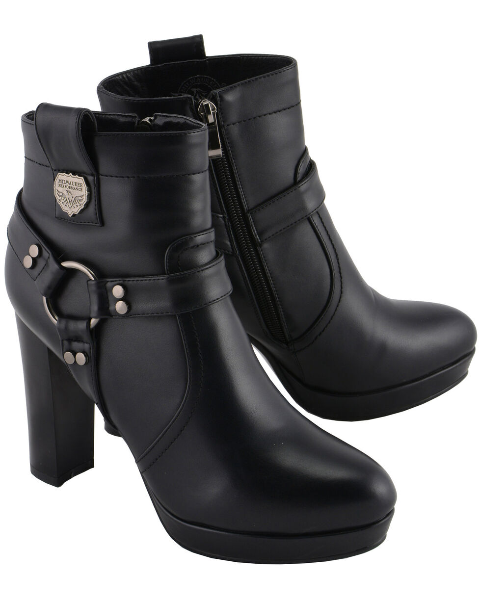 Milwaukee Leather Women's Block Heel Harness Booties - Medium Toe, Black, hi-res